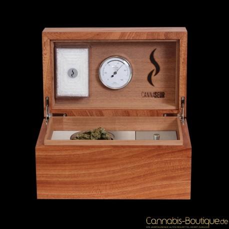 Cannaseur ® One – Mahagoni Humidor mit Zubehörfach